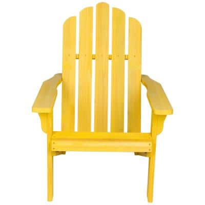 38 in. Tall Vintage Marina Patio Yellow Wooden Adirondack Chair