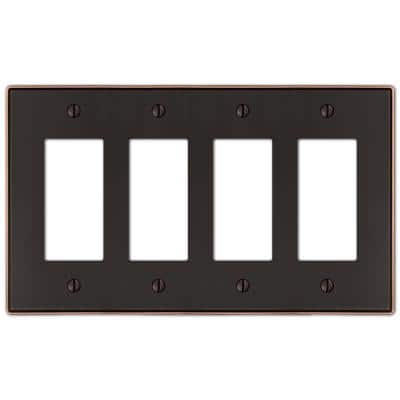 Ansley 4 Gang Rocker Metal Wall Plate - Aged Bronze