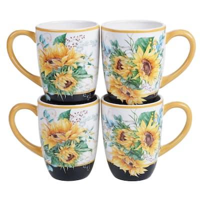 Sunflower Fields 4-Piece Seasonal Multicolored Earthenware 18 oz. Mug Set (Service for 4)