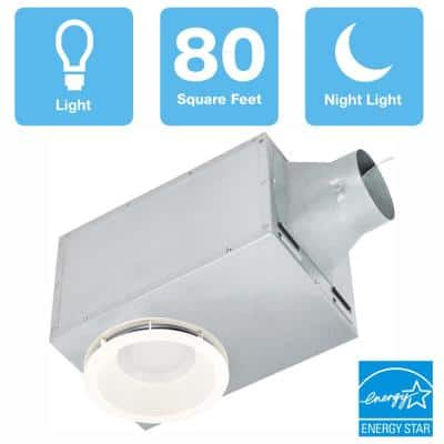 80 CFM Recessed Ceiling Bathroom Exhaust Fan with LED Light and Nightlight, ENERGY STAR