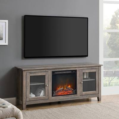 58 in. Wood Media TV Stand Console with Fireplace - Grey Wash