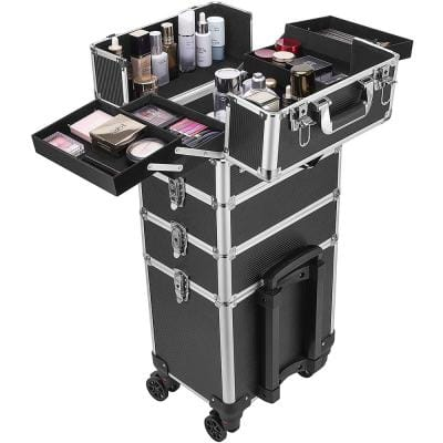 4 in 1 Aluminum Cosmetic Organizer Box with Shoulder Straps in Black