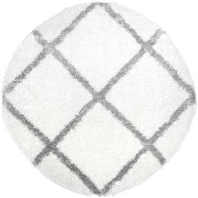 Carmela Ivory/Gray Trellis Shag 5 ft. 2 in. Round Indoor Area Rug