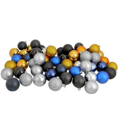 2.5 in. Black/Sapphire Blue/Antique Gold/Pewter Shatterproof 3-Finish Christmas Ball Ornaments (60-Count)