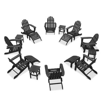 Icon Black 16-Piece Plastic Adirondack Patio Conversation Set