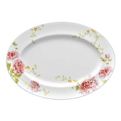 Peony Pageant White Bone China Medium Oval Platter 14 in.