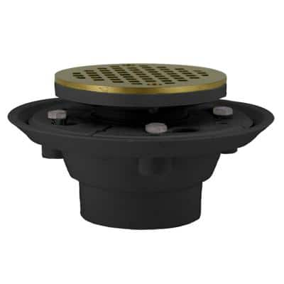2 in. x 3 in. PVC Shower Drain/Floor Drain, 4 in. Polished Brass Cast Round Strainer-Fits Over 2 in. Sch. 40 DWV Pipe