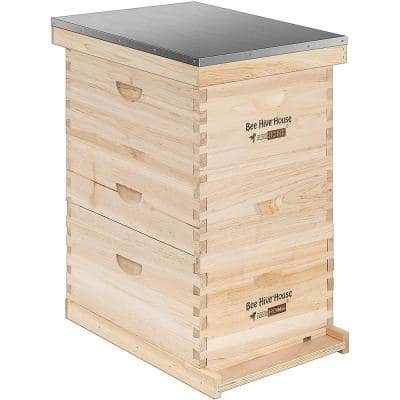 Wooden 3-Layers Langstroth Honey Bee Hive Box with Metal Roof