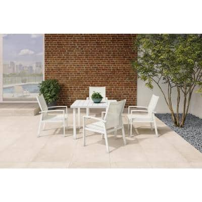 Cooper Springs White 5-Piece Aluminum Commercial Grade Sling Outdoor Dining Set