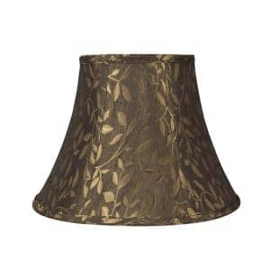 13 in. x 9.5 in. Brown with Gold Leaves Bell Lamp Shade