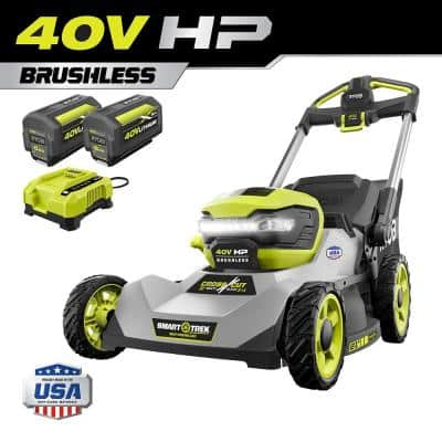 40V HP Brushless 21 in. Cordless Battery Walk Behind Dual-Blade Self-Propelled Mower with (2) 6.0 Ah Batteries & Charger