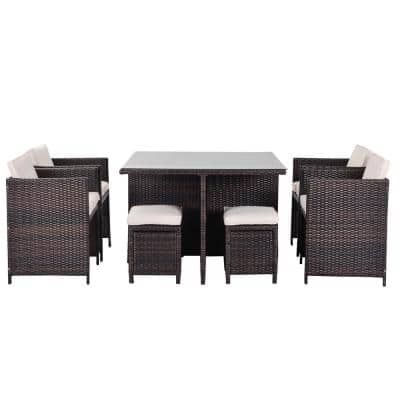Modern Brown 9-Piece Wicker Patio Conversation Set with White Cushions
