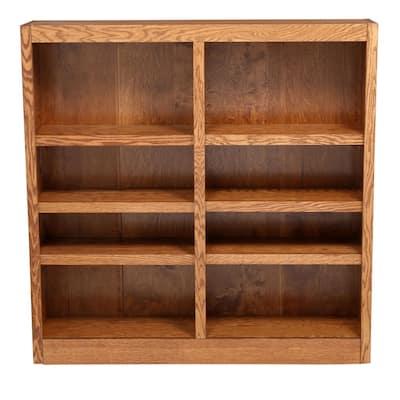 48 in. Dry Oak Wood 8-shelf Standard Bookcase with Adjustable Shelves