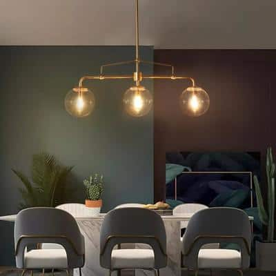 Modern Gold Globe Island Chandelier 25.5 in. 3-Light Linear Dining Room Pendant Light with Seeded Glass Shades