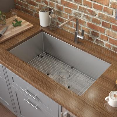 Undermount Stainless Steel 28 in. 16-Gauge Single Bowl Kitchen Sink