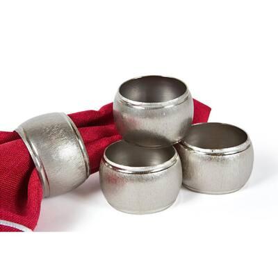 Textured Metal Silver Napkin Rings (Set of 4)