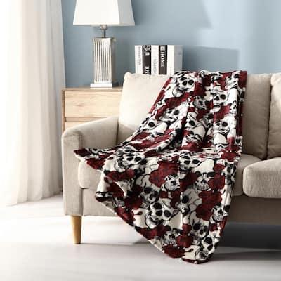 Mhf Home Botanical Skulls Plush Throw Blanket