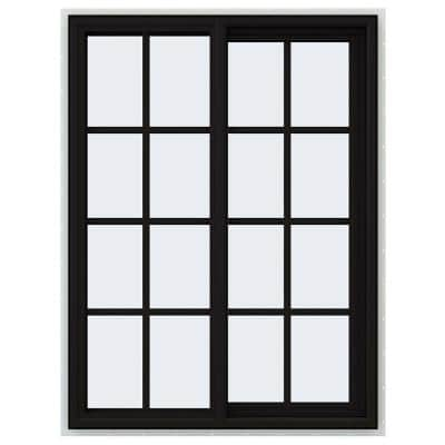 36 in. x 48 in. V-4500 Series Black FiniShield Vinyl Right-Handed Sliding Window with Colonial Grids/Grilles