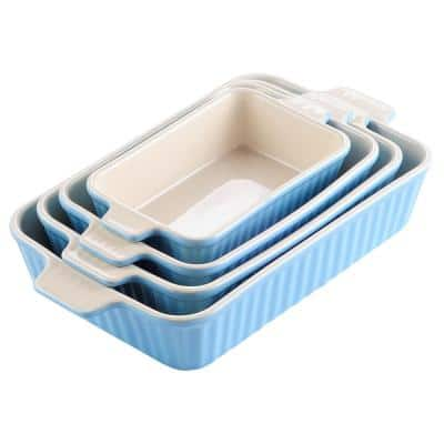 Series Bake,Blue Rectangular Oven to Table Baking Dish (Set of 4) (9 in./11 in./12 in./13.3 in.)