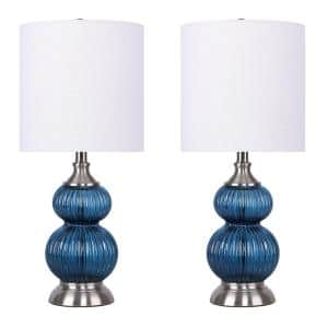 20.5 in. Sapphire Blue Seeded Glass Table Lamps with Brushed Nickel Accents and Off-White Linen Drum Shades
