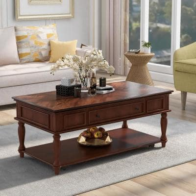 Retro 47.2 in. Espresso Rectangle Wood Coffee Table with Drawer and Caster Wheels