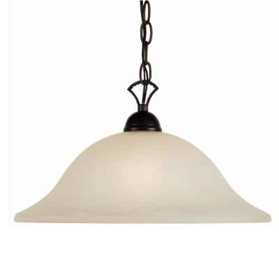 Aspen 1-Light Rubbed Oil Bronze Bell Pendant with Marbleized Glass Shade