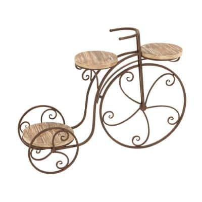 Brown Iron and Wood 3-Platform Bicycle Plant Stand