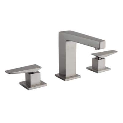 Quadro 8 in. Widespread 2-Handle High Arc Bathroom Faucet in Brushed Nickel