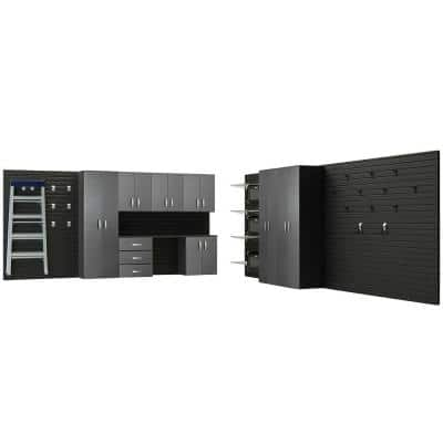 Modular Wall Mounted Garage Cabinet Storage Set with Workstation/Accessories in Black/Graphite Carbon Fiber (9-Piece)