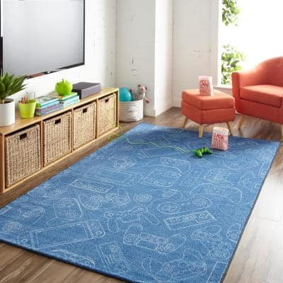 In Control Denim 8 ft. x 10 ft. Whimsical Area Rug