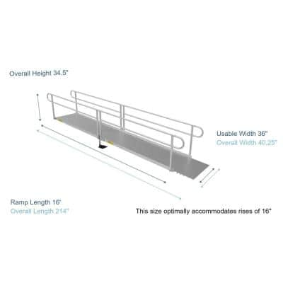 PATHWAY 3G 16 ft. Wheelchair Ramp Kit with Solid Surface Tread and Two-line Handrails