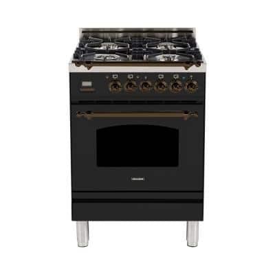 24 in. 2.4 cu. ft. Single Oven Italian Gas Range with True Convection, 4 Burners, Bronze Trim in Glossy Black