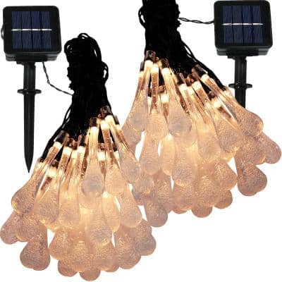 30-Light Outdoor 20 ft. Water Drop Solar LED String Light Set in Warm White (2-Pack)