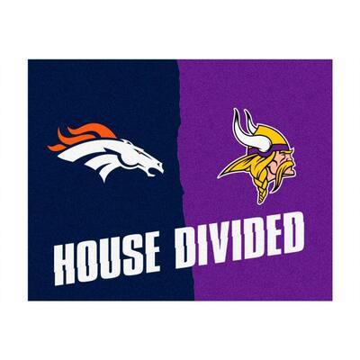 NFL Broncos / Vikings Navy House Divided 3 ft. x 4 ft. Area Rug