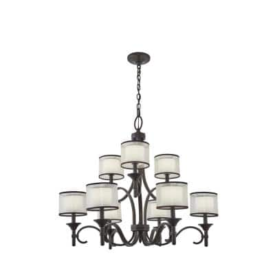 Lacey 9-Light Mission Bronze 2 Tier Chandelier with White Etched Glass Shade