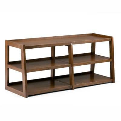 Sawhorse 60 in. Medium Saddle Brown Wood TV Stand Fits TVs Up to 66 in. with Solid Wood