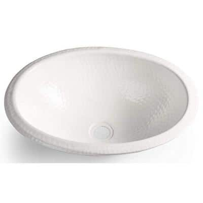 17 in. Hand Hammered Oval Drop-In Bathroom Sink in Classic White