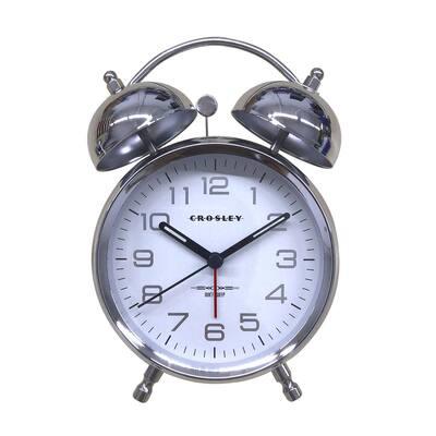 33019S- Silver Metallic Twin Bell Alarm