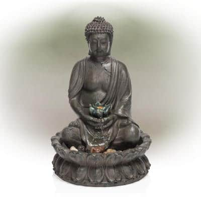 19 in. Tall Indoor/Outdoor Tabletop Meditating Buddha with Lotus Flower Fountain with LED Light
