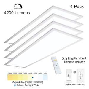 1 ft. x 4 ft. 40 W Integrated LED White Troffer Color Dimmable Drop Ceiling Flat Panel Light 4200LM 3000K-5000K (4-Pack)