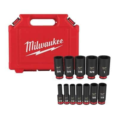 SHOCKWAVE 3/8 in. Drive Deep Well 6 Point Impact Socket Set (12-Piece)