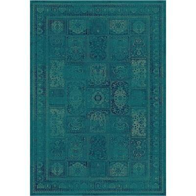Vintage Turquoise/Multi 7 ft. x 9 ft. Border Distressed Area Rug
