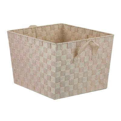 15 in. D x 10 in. H x 13 in. W Ivory Fabric Cube Storage Bin