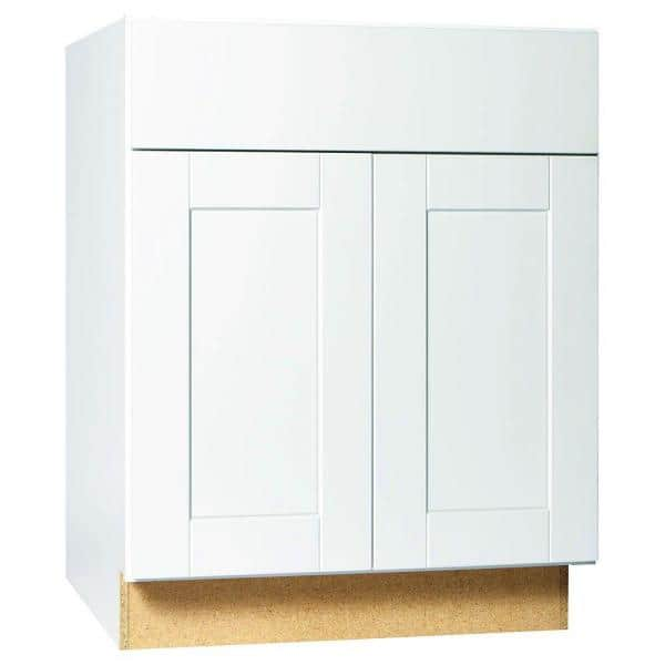 Hampton Bay Shaker Assembled 27x34 5x24 In Base Kitchen Cabinet With Ball Bearing Drawer Glides In Satin White Kb27 Ssw The Home Depot