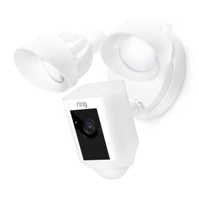 Outdoor Wi-Fi Wired Standard Surveillance Camera with Motion Activated Floodlight White Certified Refurbished