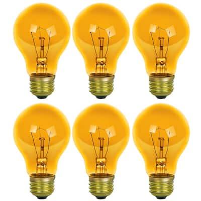 25-Watt A19 Edison Yellow Transparent Incandescent Light Bulb (6-Pack)