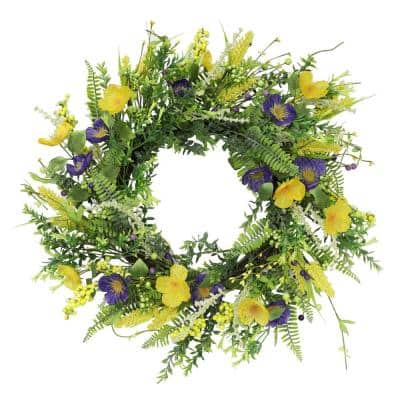Puleo International 24 in. Artificial Spring Mixed Floral Wreath