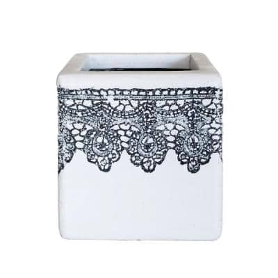 7.5 in. L Composite Crochet Cube Planter in White