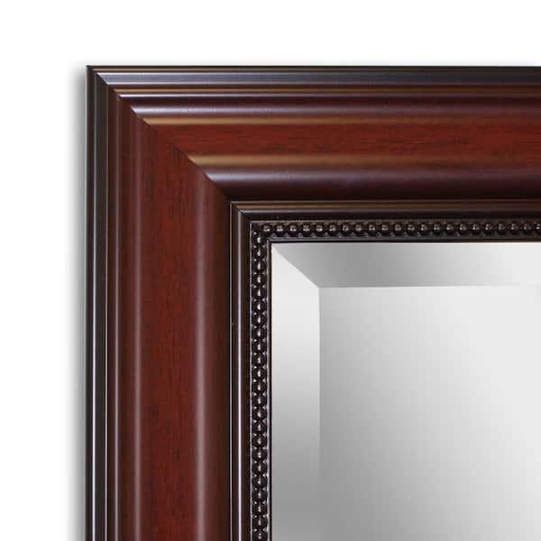 Deco Mirror Traditional 30 In W X 42 In H Framed Rectangular Bathroom Vanity Mirror In Dark Cherry 8951 The Home Depot