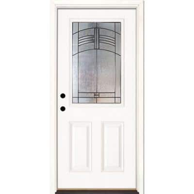 37.5 in. x 81.625 in. Rochester Patina 1/2 Lite Unfinished Smooth Right-Hand Inswing Fiberglass Prehung Front Door